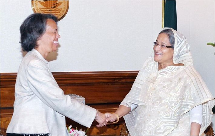 Mercia Bernicat (left) with Sheikh Hasina/C: pmo.gov.bd