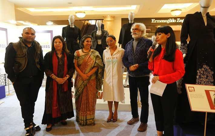 From left: Gaurav Gupta, Ritu Kumar, Dinaz  Madhukar, Bandana Tewari, Sunil Sethi, and Neha Lidder