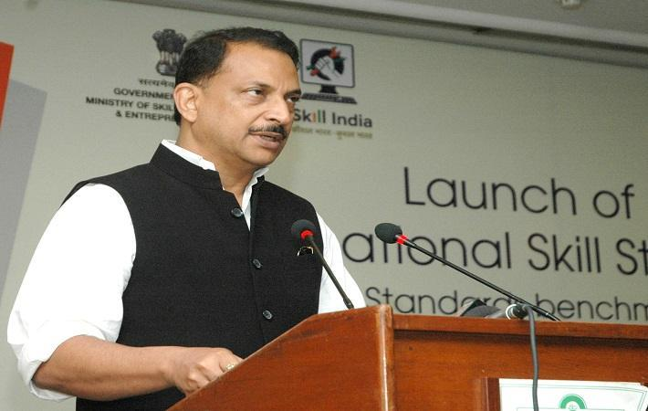 "C:PIB/Shri Rajiv Pratap Rudy launching the ""Transnational Skill Standards"""