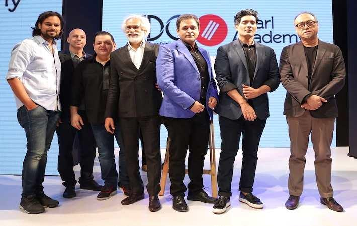 From left: Rahul Mishra, Claudio Moderini, Rohit Gandhi, Sunil Sethi, Sharad Mehra, Manish Malhotra, and David Abraham