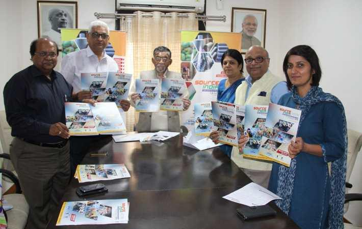 Textiles minister Santosh Kumar Gangwar launching Source India brochure. Courtesy: SRTEPC