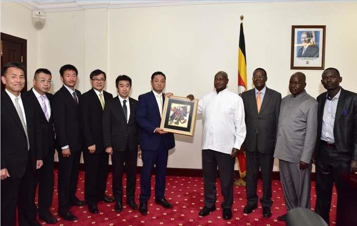 Delegation from Izumisano city in Japan with Ugandan President Museveni. Courtesy: Uganda News