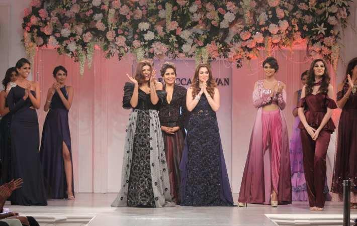 Sushmita Sen, Tapur Chatterjee and Rebecca Dewan with models at Rebecca Dewan label launch
