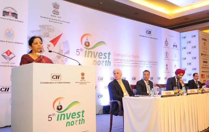 Nirmala Sitharaman addressing the inaugural session of the Invest North Summit, in New Delhi. Courtesy: PIB