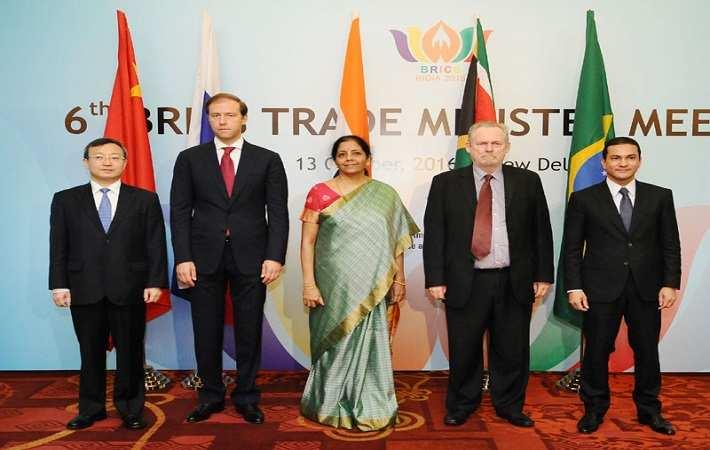 Commerce and industry minister Nirmala Sitharaman with trade ministers of other BRICS nations. Courtesy: PIB