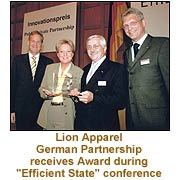 "Lion Apparel German Partnership receives Award during ""Efficient State"" conference"