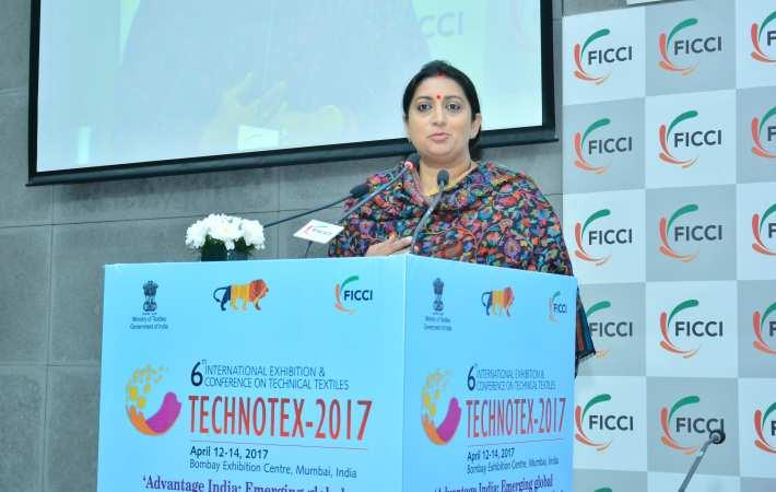 Textiles minister Smriti Irani addressing a curtain raiser of Technotex 2017. Courtesy: Ficci