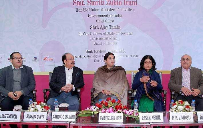 Union textiles minister Smriti Irani at the inauguration of IIGF in New Delhi with textiles secretary Rashmi Verma and other dignitaries. Courtesy: PIB