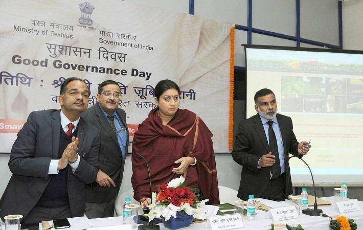 Union minister for textiles Smriti Irani launching the 3 initiatives on the Good Governance Day, in New Delhi. Courtesy: PIB