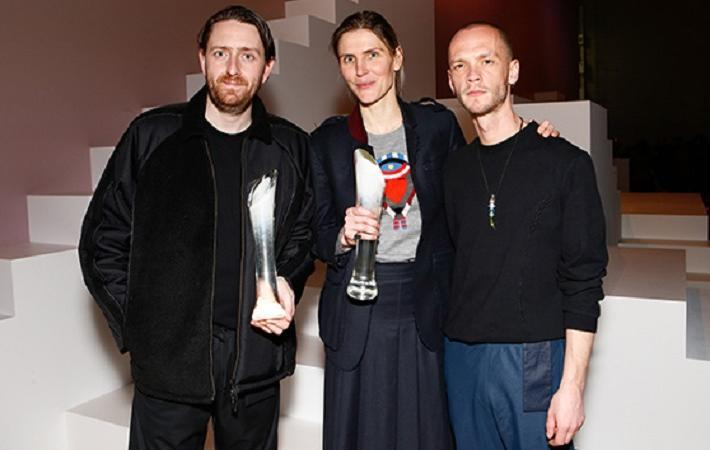2016/17 IWP menswear winners Ben Cottrell and Matthew Dainty of Cottweiler, with womenswear winner Gabriela Hearst (center). Courtesy: The Woolmark Company