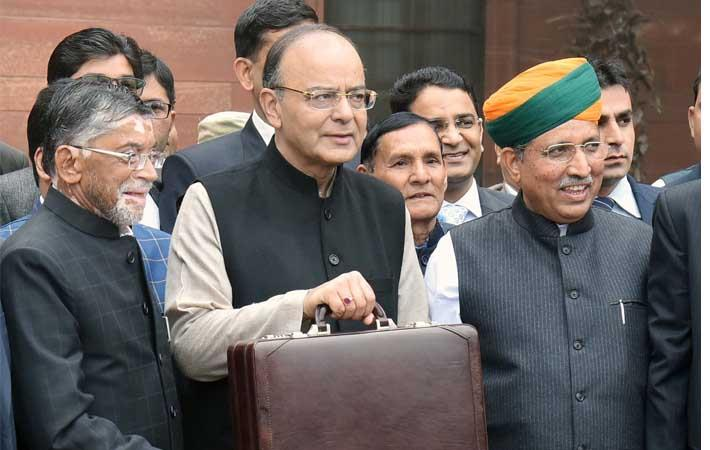 Union Minister for Finance and Corporate Affairs Arun Jaitley along with Minister of State for Finance and Corporate Affairs Arjun Ram Meghwal and Minister of State for Finance Santosh Kumar Gangwar