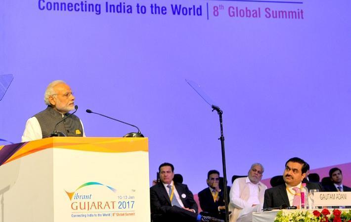 Prime Minister Narendra Modi addressing at the Vibrant Gujarat Global Summit 2017 in Gandhinagar, Gujarat. Courtesy: PIB