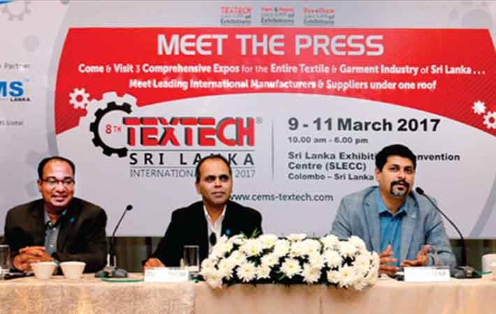 SS Sarwar, group CEO, CEMS Global US &Asia Pacific addressing a press conference with Ejaz Sarwar, country director of CEMS Lanka and Md Sharif Hussain, manager – exhibitor services & international co