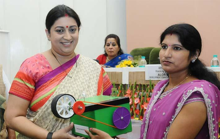 Union textiles minister Smriti Irani distributed the Buniyaad Reeling Machines to tussar silk reelers on the occasion of the International Women