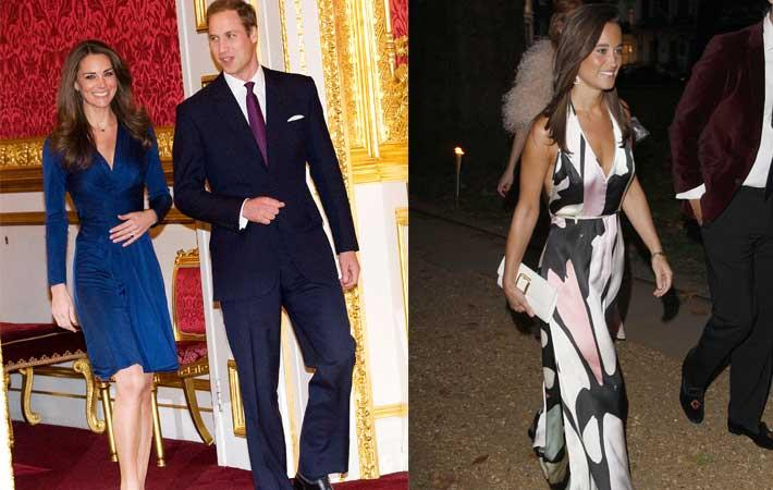 Kate Middleton and Pippa Middleton in Daniella Helayel's designs with Prince William. Courtesy: Koovs