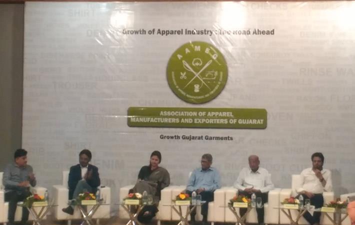 (left to right) Hitesh Ruparelia, Gautam Kotaramju, Meena Kavya, Rohit Patel, Bipin Patel and Bhoj Raj Nawani at the inaugural function of Association of Apparel Manufacturers and Exporters of Gujarat