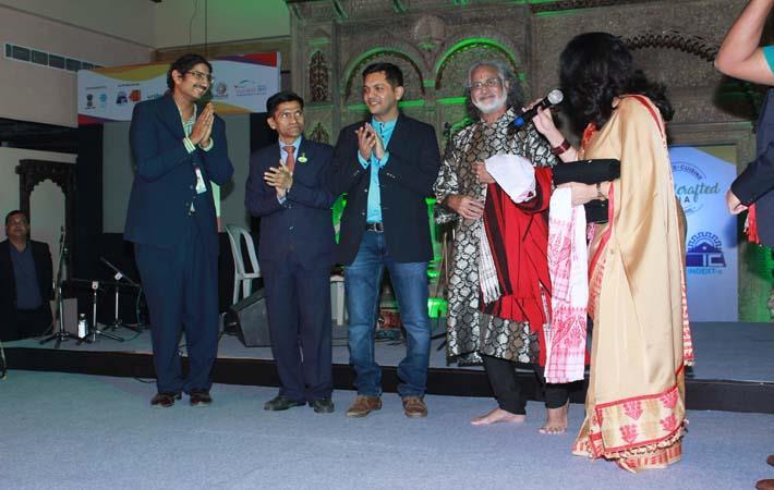 L-R: Siddharth Kohli, Ike Sinha, Chintan Oza, Pandit Vishwa Mohan Bhatt, Sunita Bhuyan; Courtesy: Chintan Oza