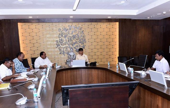 Andhra Pradesh chief minister N Chandrababu Naidu at a review meeting on handlooms and textiles at the Secretariat in Velagapudi. Courtesy: Twitter/@AndhraPradeshCM