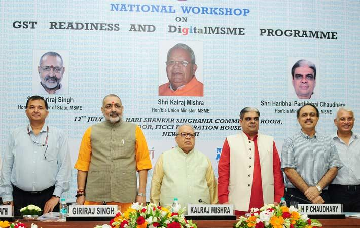 Minister of MSME Kalraj Mishra at National Workshop on GST Readiness of the ministry in New Delhi with ministers Giriraj Singh & Haribhai Parthibhai Chaudhary and other dignitaries. Courtesy: PIB