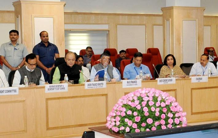 Union finance minister Arun Jaitley chairing the 15th meeting of the GST Council in New Delhi. Courtesy: PIB