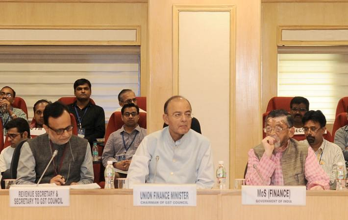 Union Finance Minister Arun Jaitley chairing the 20th meeting of the GST Council, in New Delhi on August 05, 2017. MoS for Finance Santosh Kumar Gangwar and Revenue Secretary Dr. Hasmukh Adhia are als