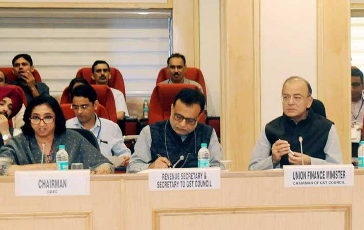 Indian finance minister Arun Jaitley, GST Council secretary Hasmukh Adhia and CBEC chairperson Vanaja Sarna at the 22nd meeting of the GST Council. Courtesy: PIB