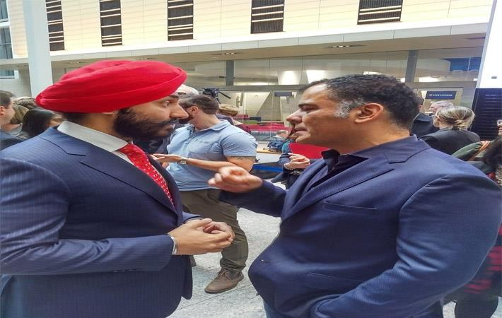Minister Navneet Bains and Tony Chahine,CEO of Myant discussing innovation and manufacturing in Canada; Courtesy: Melony Jamieson