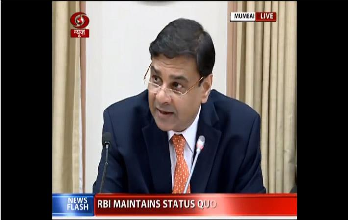 RBi governor Urjit Patel addressing a press conference in Mumbai post release of bi-monthly statement; Courtesy: DoorDarshan