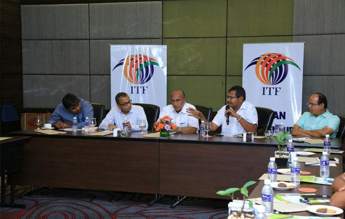L-R: Dhanapal, JMD, Best Corporation; Prabhu Damodaran, Convenor, ITF; Narayanasamy, MD, Micro Cotspin; Senthilnathan, MD, Rasitex India; and Sabapathy, MD, Prasanna Spinning Mills at an ITF meeting.