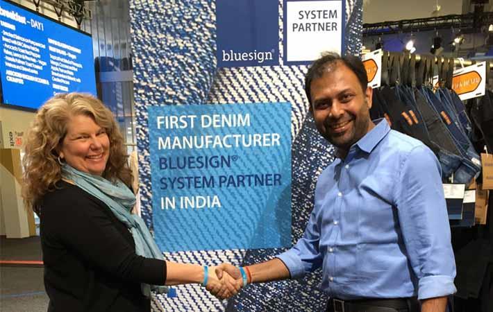 Courtesy: Bluesign Technologies/Jill Dumain (left), CEO of bluesign technologies with Aditya Goyal, MD of Anubha Industries
