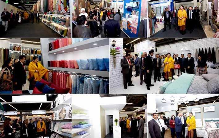 Textiles minister Smriti Irani visiting the India Pavilion at Heimtextil Frankfurt; Courtesy: Messe Frankfurt