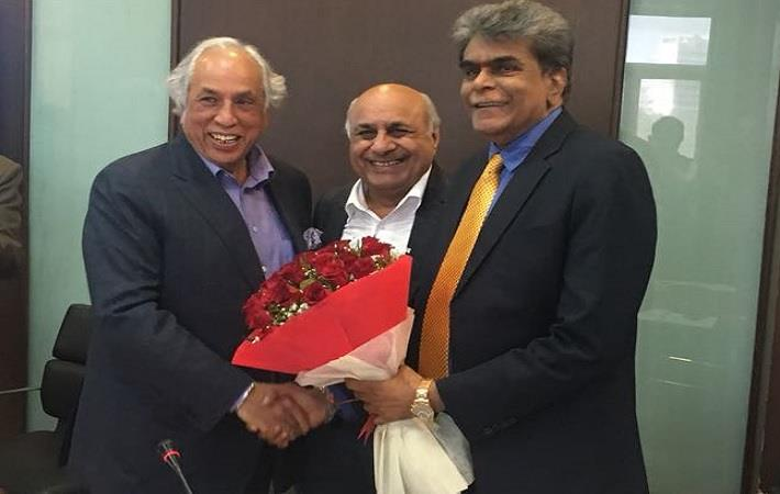 Dr. A Sakthivel (extreme right) being greeted at AEPC office; Courtesy: AEPC