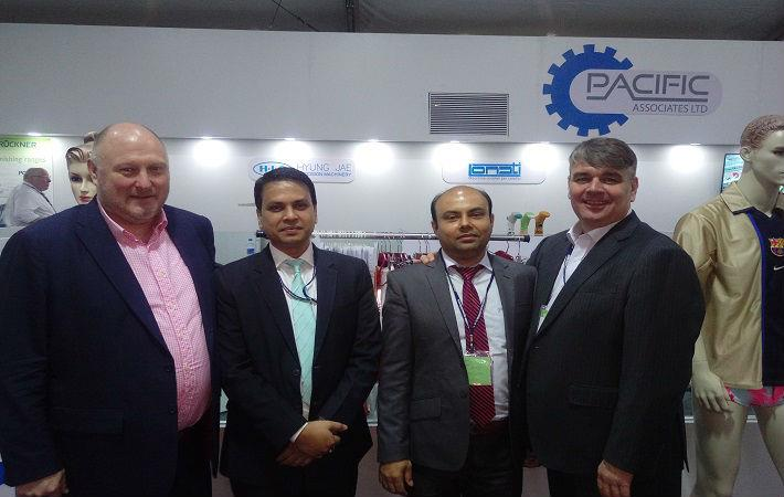 From left to right: Mark Smith from Karl Mayer, Ujjal Sen and Imran Mohaiminul from Pacific Associates, and Peter Frise from Karel Mayer (HK) at DTG Bangladesh. Courtesy: Karl Mayer