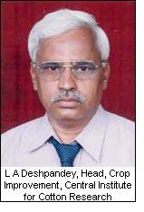 L A Deshpandey, Head, Crop Improvement, Central Institute for Cotton Research