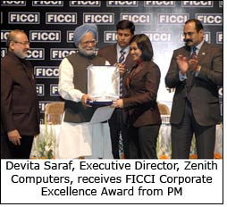 Devita Saraf, Executive Director, Zenith Computers, receives FICCI Corporate Excellence Award from PM