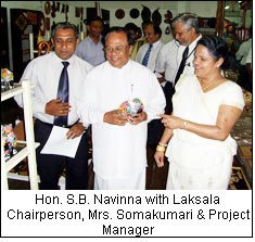 Hon. S.B. Navinna with Laksala Chairperson, Mrs. Somakumari & Project Manager