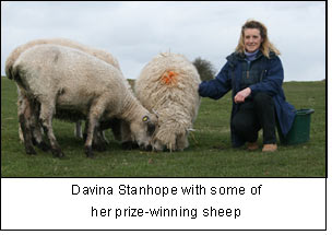 Davina Stanhope with some of her prize-winning sheep