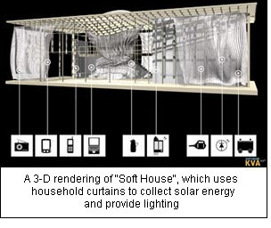 "A 3-D rendering of ""Soft House"", which uses household curtains to collect solar energy and provide lighting."