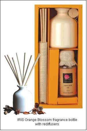 IRIS Orange Blossom fragrance bottle with rediffusers