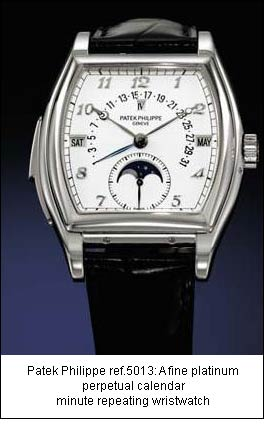 Patek Philippe ref.5013: A fine platinum perpetual calendar minute repeating wristwatch