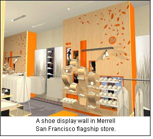A shoe display wall in Merrell San Francisco flagship store.