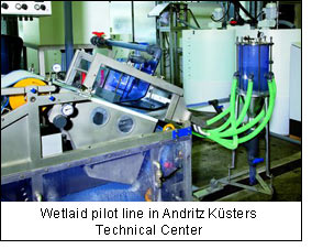 Wetlaid pilot line in Andritz Küsters Technical Center