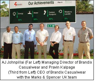 AJ Johnpillai (Far Left) Managing Director of Brandix Casualwear and Pravin Kalpage (Third from Left) CEO of Brandix Casualwear with the Marks & Spencer UK team