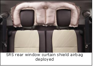SRS rear window curtain shield airbag deployed