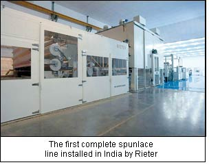 The first complete spunlace line installed in India by Rieter