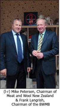 (l-r) Mike Petersen, Chairman of Meat and Wool New Zealand & Frank Langrish, Chairman of the BWMB.