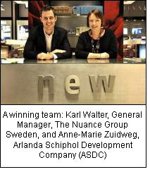 A winning team: Karl Walter, General Manager, The Nuance Group Sweden, and Anne-Marie Zuidweg, Arlanda Schiphol Development Company (ASDC)