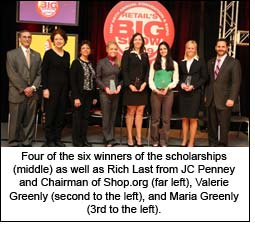 Four of the six winners of the scholarships (middle) as well as Rich Last from JC Penney and Chairman of Shop.org (far left), Valerie Greenly (second to the left), and Maria Greenly (3rd to the left).