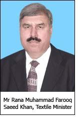 Mr Rana Muhammad Farooq Saeed Khan, Textile Minister