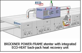 BRÜCKNER POWER-FRAME stenter with integrated ECO-HEAT back-pack heat recovery unit